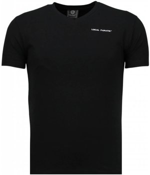 Local Fanatic Basic Exclusieve V Neck - T-Shirt - Zwart