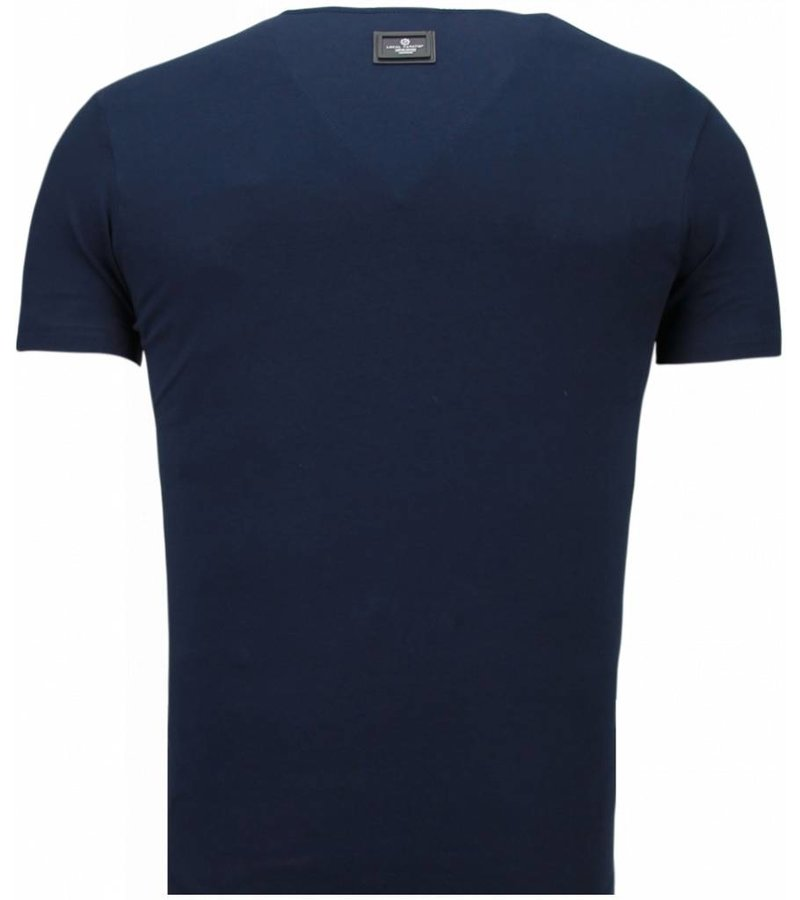 Local Fanatic Basic Exclusieve V Neck - Herr Man T Shirt - 5799B - Blå