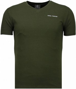 Local Fanatic Basic Exclusieve V Neck - T Shirt Man - 5799G - Grön