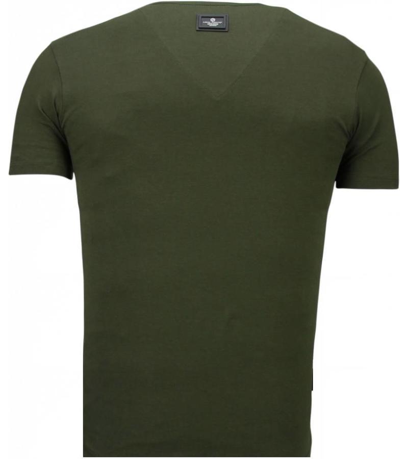 Local Fanatic Basic Exclusieve V Neck - T Shirt Man - 5799G - Grön