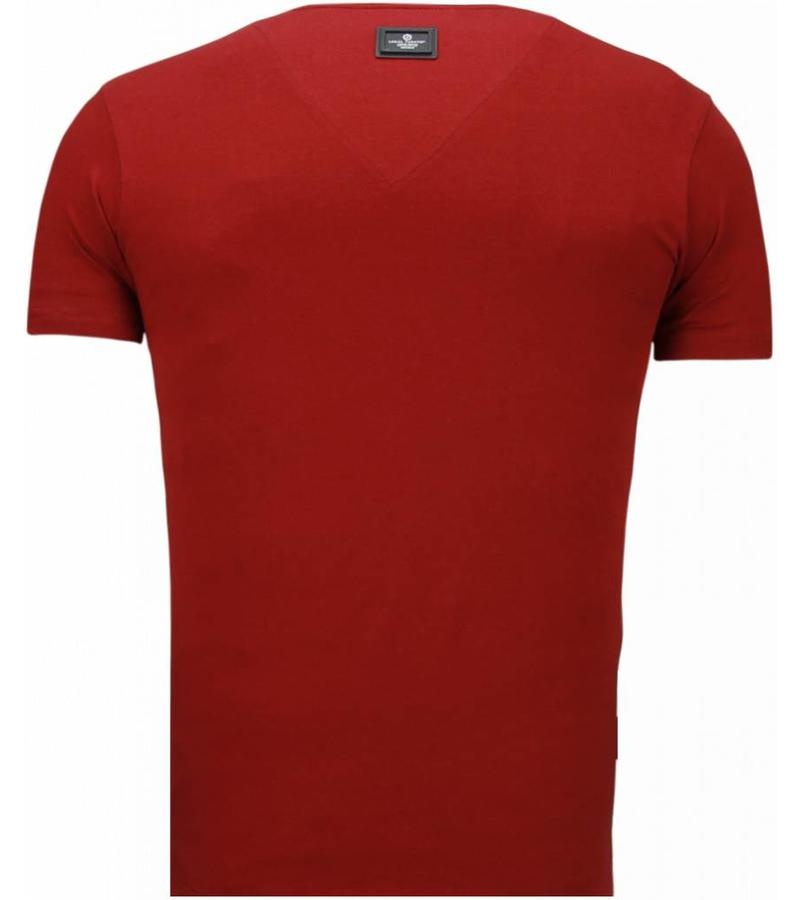 Local Fanatic Basic Exclusieve V Neck - Man T Shirt - 5799BX - Bordeaux