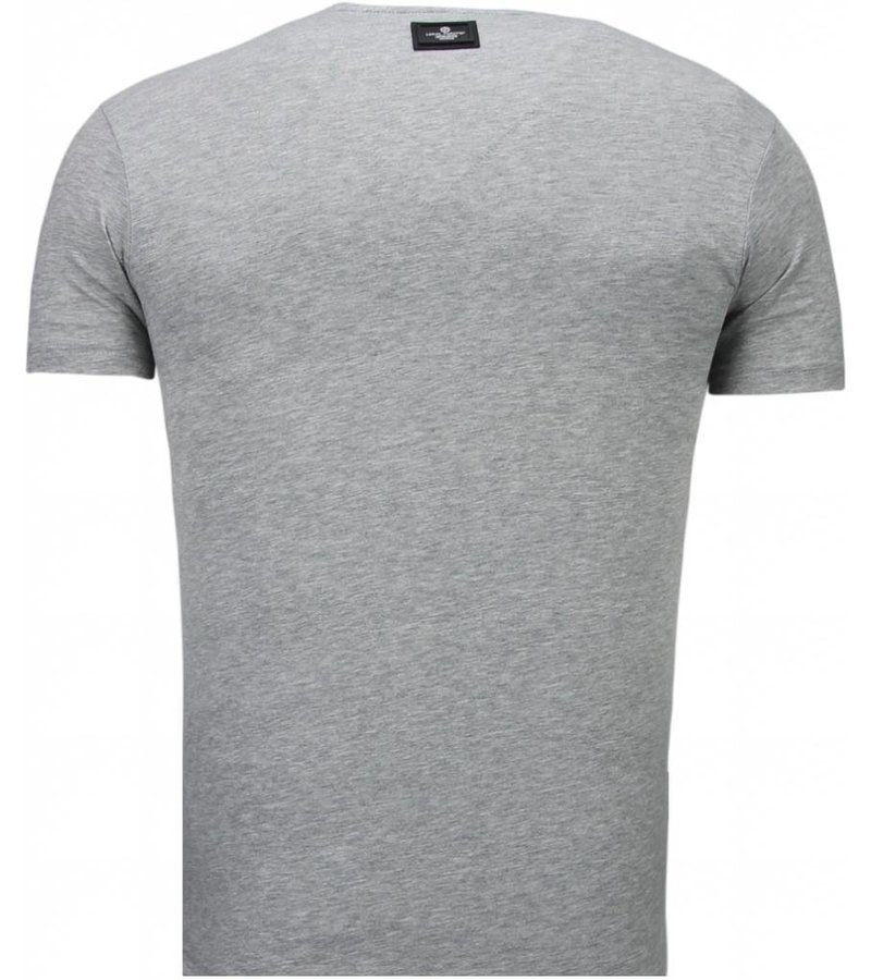 Local Fanatic Basic Exclusieve V Neck - T Shirt Herr - 5799GS - Grå