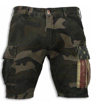 Bread & Buttons Korte Broeken Heren - Slim Fit Camouflage Shorts - Groen
