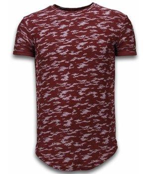 John H Camouflage  Long Fit Army Pattern - Herr T Shirt - SW330BR - Bordeaux