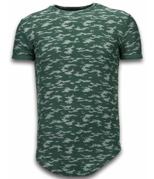 John H Fashionable Camouflage T-shirt - Long Fit Shirt Army Pattern - Groen