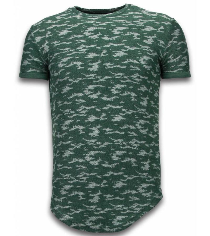 John H Camouflage Long Fit Army - T Shirt Herr - SW330G - Grön