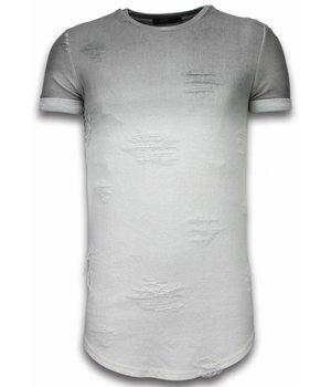 John H Flare Effect Long Fit Dual Colored - Man T Shirt - T09165G - Grå