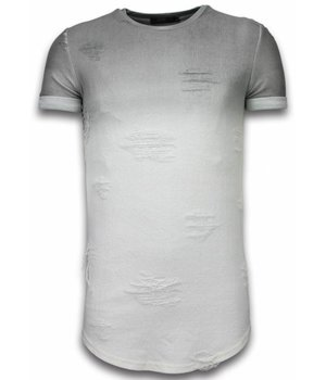 John H Flare Effect T-shirt - Long Fit Shirt Dual Colored - Grijs