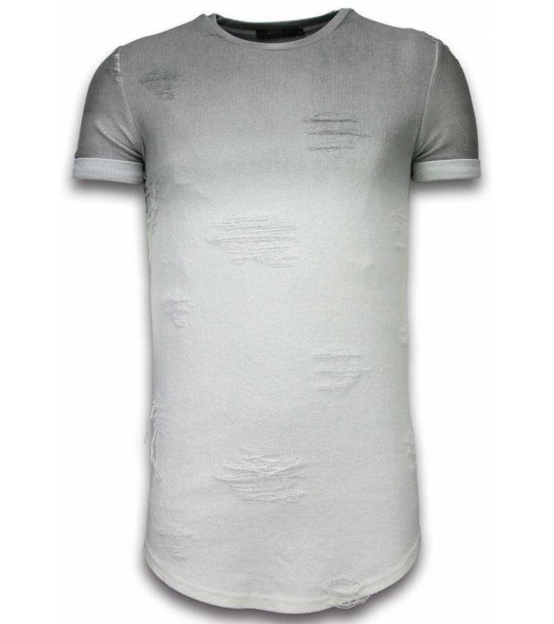John H Flare Effect Long Fit Dual Colored - Man T Shirt - T09165G - Grå