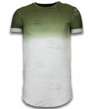 John H Flare Effect T-shirt - Long Fit Shirt Dual Colored - Groen