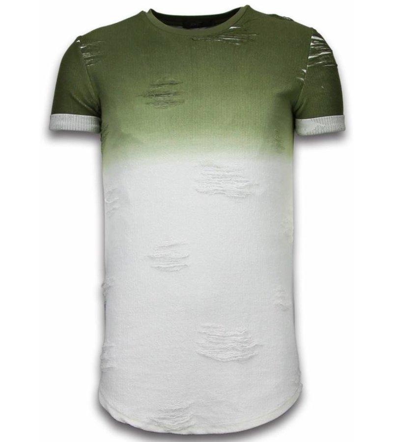 John H Flare Effect Long Fit Dual Colored - Herr T Shirt - T09165GR - Grön