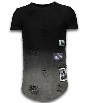 John H Pictured Flare Effect Long Fit - T Shirt Herr - T09182Z - Svart