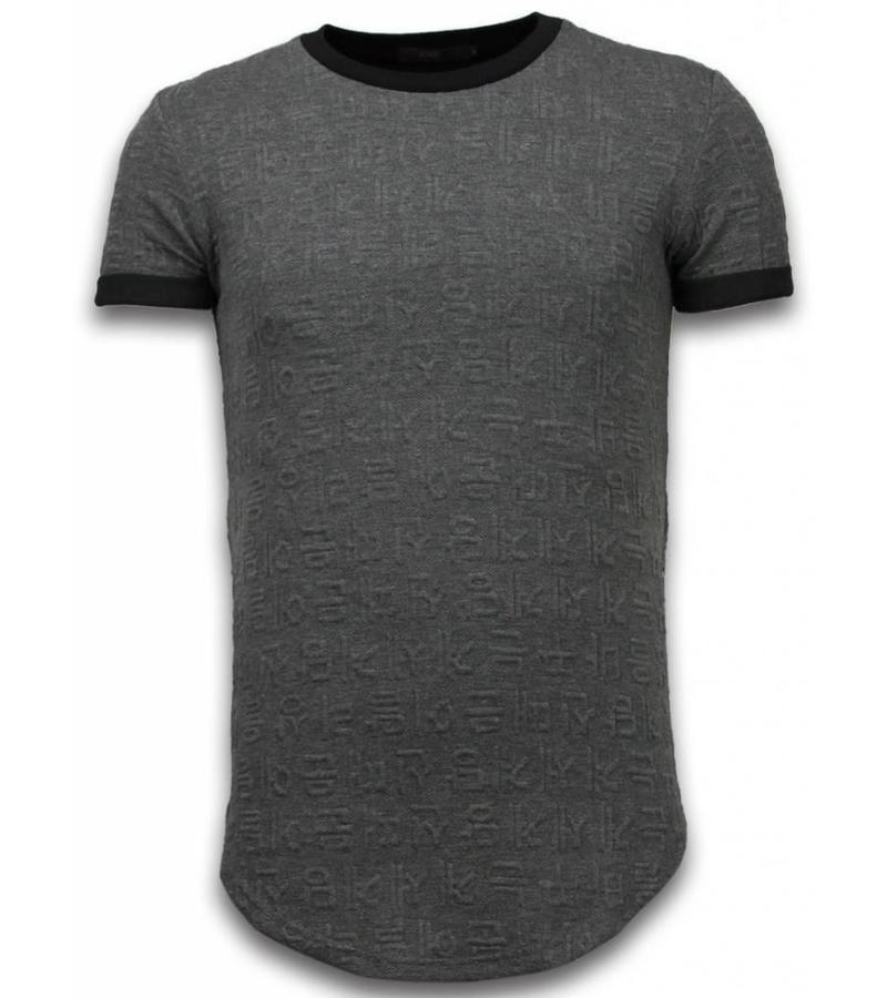 John H 3D Long Fit Shirt Zipped - T Shirt Herr - T09183G - Grå
