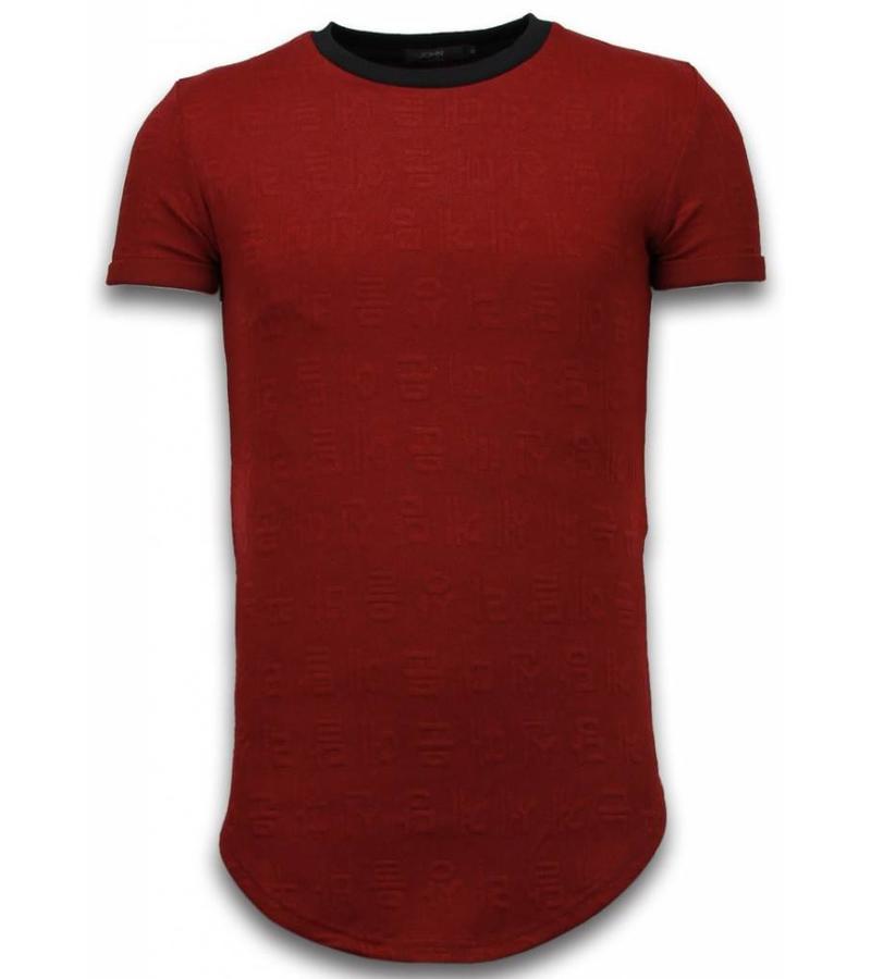 John H 3D Long Fit Shirt Zipped - Herr T Shirt - T09183R - Röd
