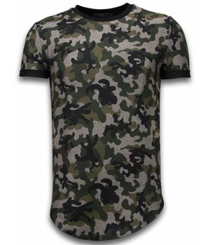 John H Camouflaged Fashionable T-shirt - Long Fit Shirt Army Pattern - Groen