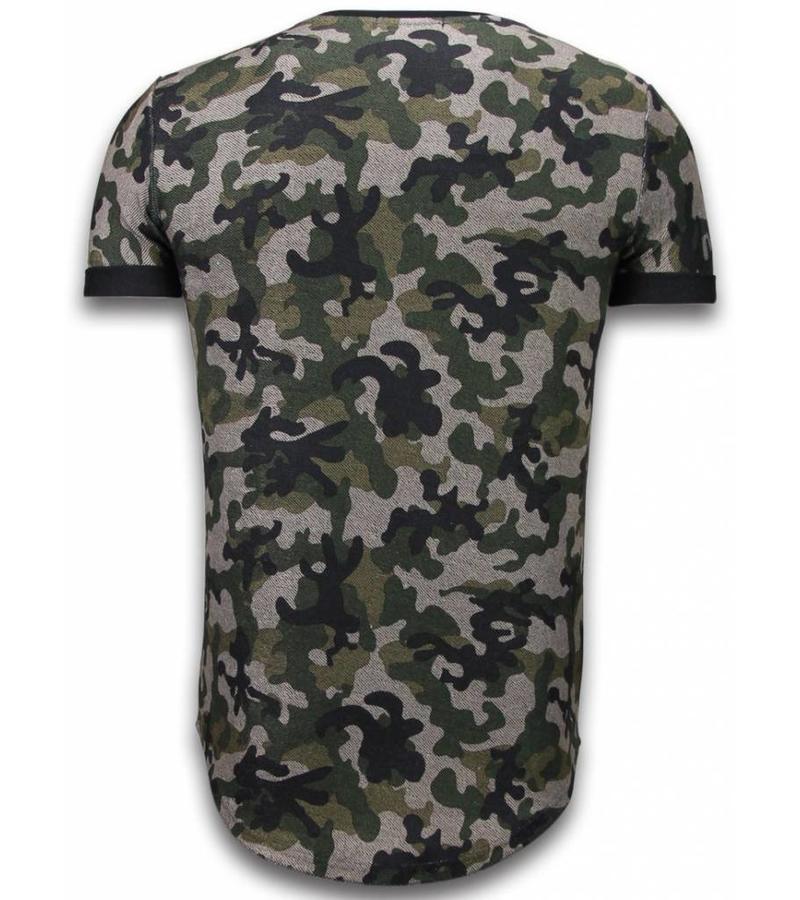 John H Camouflaged Fashionable Long Fit - T Shirt Herr - 111G - Grön