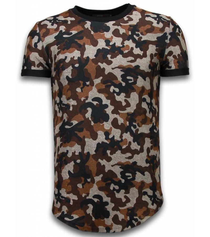 John H Camouflaged Fashionable Long Fit - Herr T Shirt - 111B - Brun
