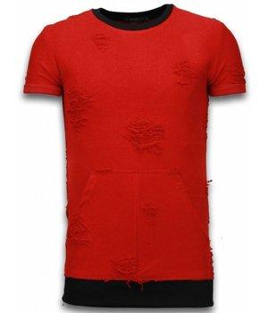 John H Long Fit Shirt Zipped - Herr T Shirt - T0918R - Röd