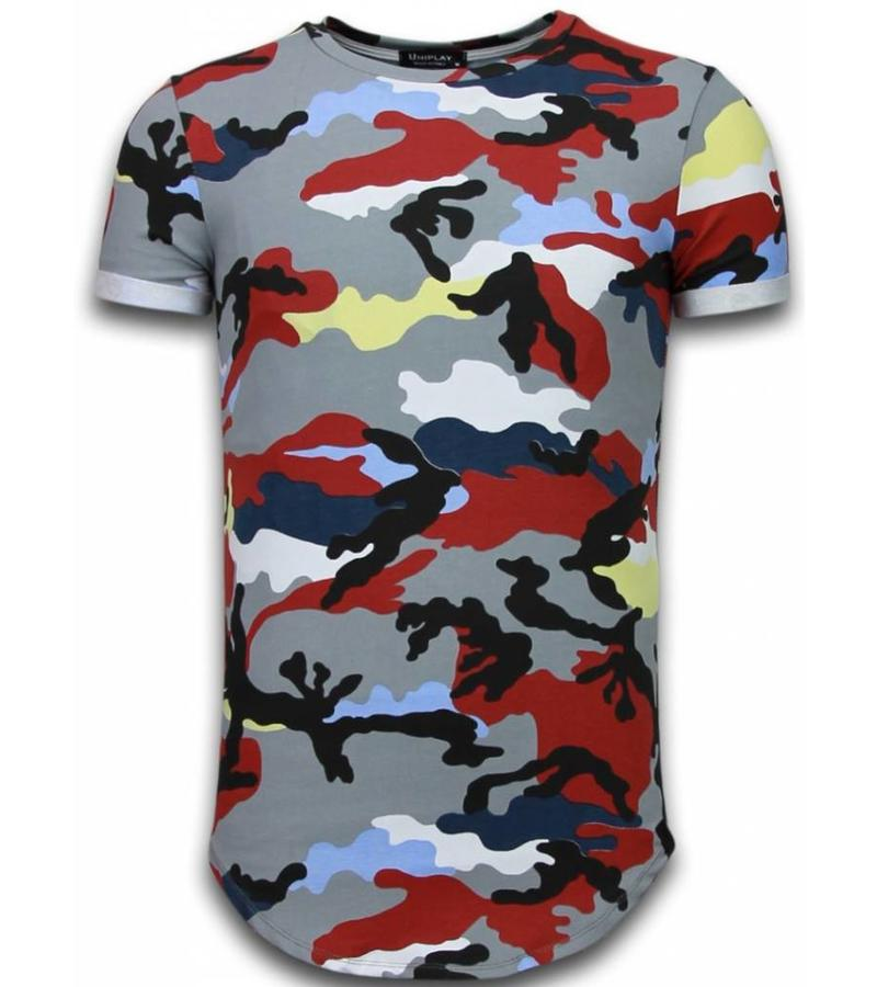 Uniplay Camouflage Long Fit Shirt Army - Herr T Shirt - UP-T127P - Bordeaux