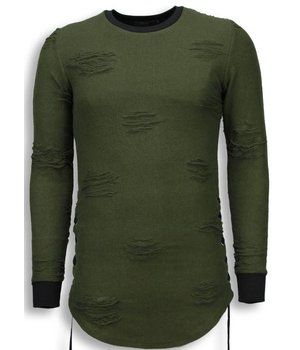 John H Destroyed Look Trui - Side Laces Long Fit Sweater - Groen