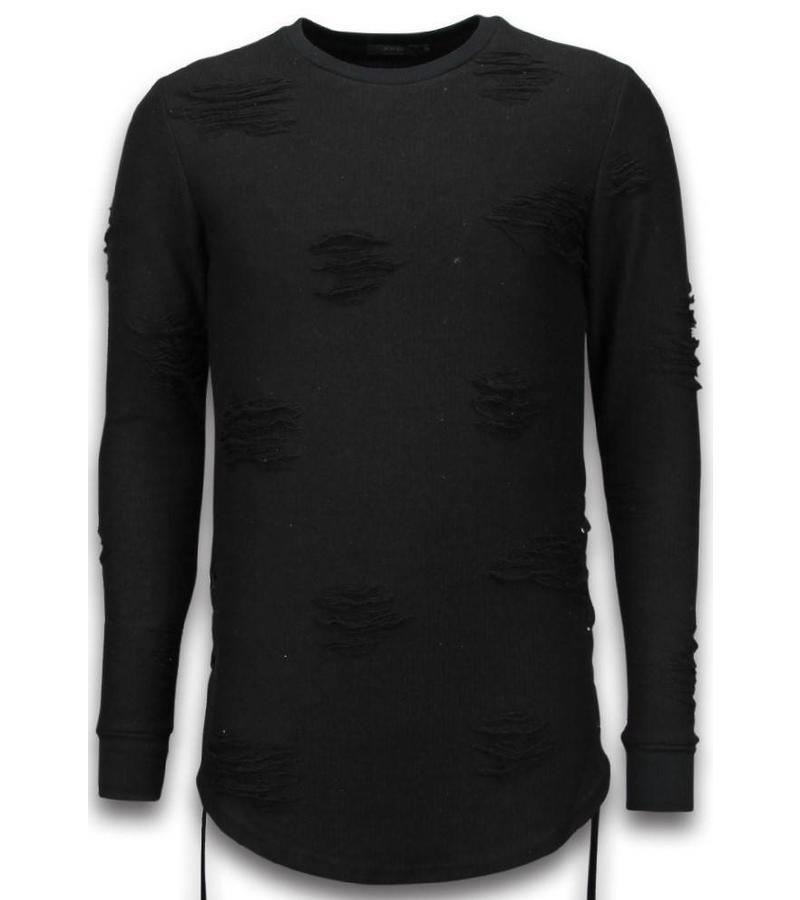John H Destroyed Look Side Laces Long Fit - Sweater Herr - S09194Z - Svart