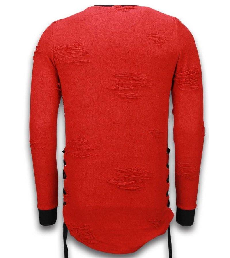 John H Destroyed Look Side Laces Long Fit - Sweater Men - S09194R - Röd