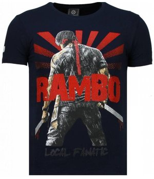 Local Fanatic Rambo Shine Rhinestone - Man T Shirt - 5769B - Marinblå