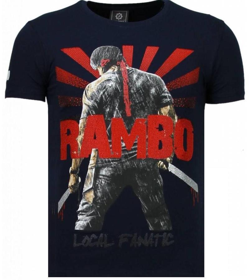 Local Fanatic Rambo Shine Rhinestone - Man T Shirt - 5769B - Marinblå