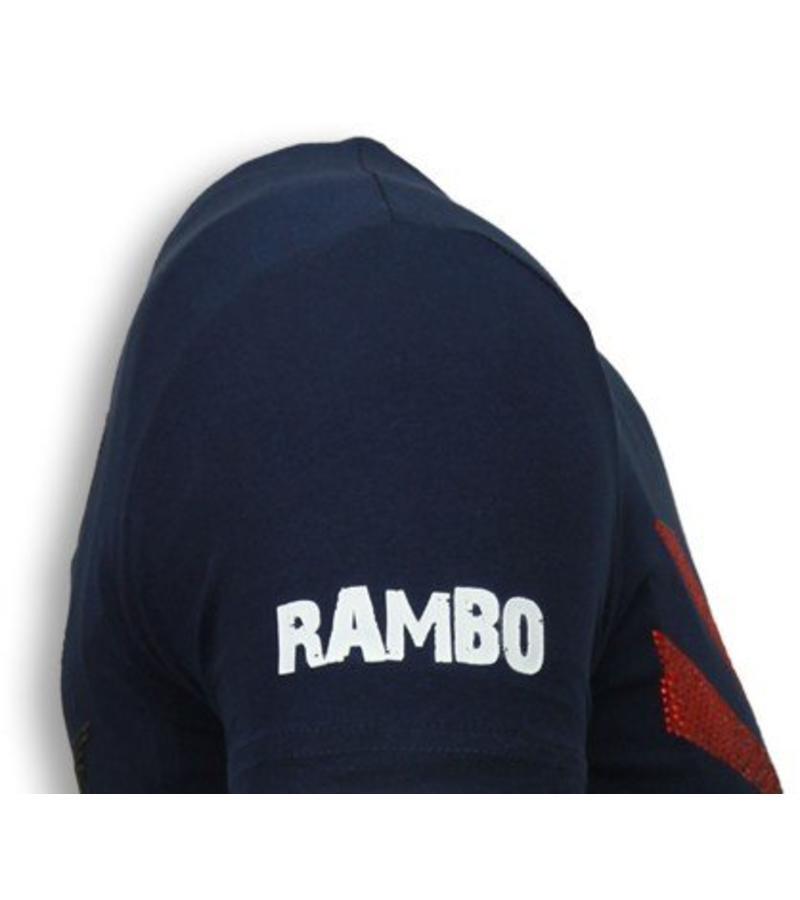 Local Fanatic Rambo Shine - Rhinestone T-shirt - Navy