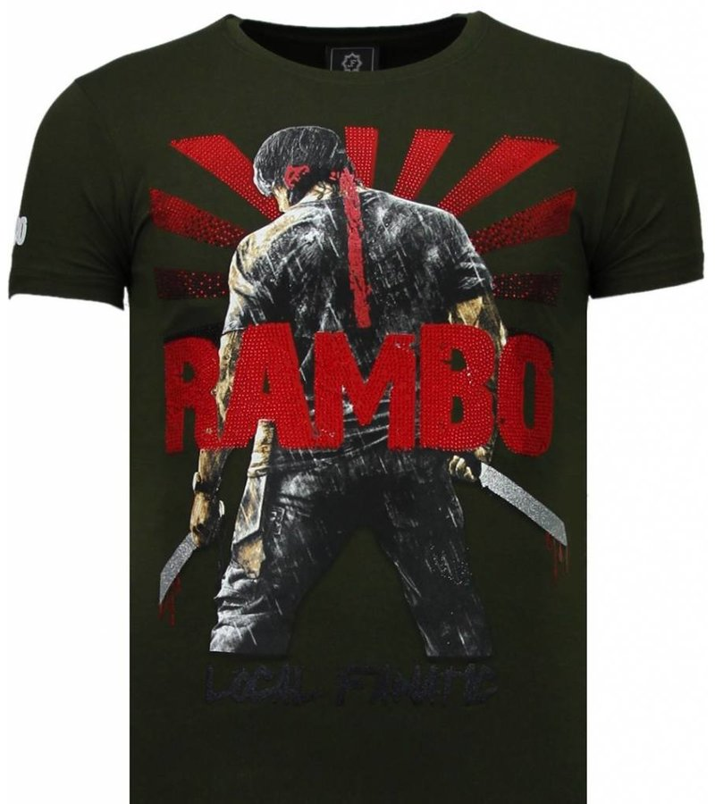 Local Fanatic Rambo Shine Rhinestone - T Shirt Herr - 5769G - Grön