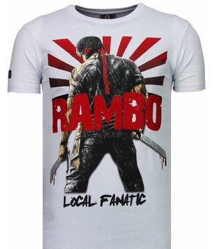 Local Fanatic Rambo Shine Rhinestone - Herr T Shirt - 5769W - Vit