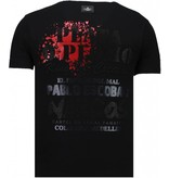 Local Fanatic Pablo Escobar Narcos Rhinestone - Man T Shirt  - 5782Z - Svart