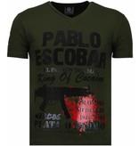 Local Fanatic Pablo Escobar Narcos Rhinestone - T Shirt Herr - 5782G - Grön
