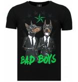Local Fanatic Bad Boys Pinscher Rhinestone - Man T Shirt - 5774Z - Svart