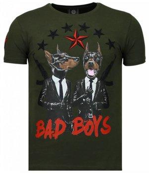 Local Fanatic Bad Boys Pinscher Rhinestone - T Shirt Herr - 5774G - Grön