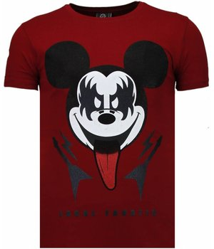 Local Fanatic Kiss My Mickey Rhinestone - T Shirt Herr - 5771R - Bordeaux