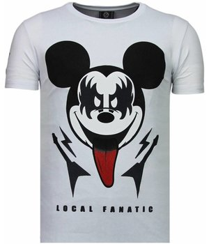 Local Fanatic Kiss My Mickey - Rhinestone T-shirt - Wit
