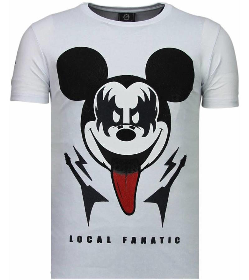 Local Fanatic Kiss My Mickey Rhinestone - Herr T Shirt - 5771W - Vit