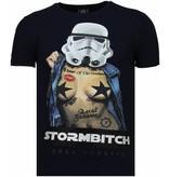 Local Fanatic Stormbitch Rhinestone -Man T Shirt - 5770N - Blå