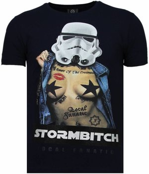Local Fanatic Stormbitch - Rhinestone T-shirt - Blauw