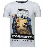 Local Fanatic Stormbitch Rhinestone - Herr T Shirt - 5770W - Vit