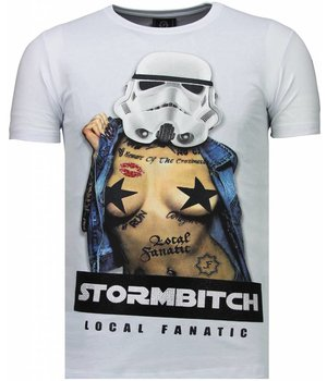 Local Fanatic Stormbitch - Rhinestone T-shirt - Wit