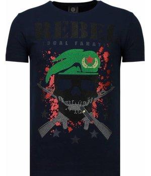 Local Fanatic Skull Rebel Rhinestone - Man T Shirt - 5776B - Blå