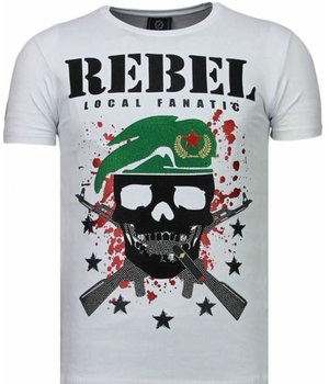 Local Fanatic Skull Rebel Rhinestone - Herr T Shirt - 5776W - Vit