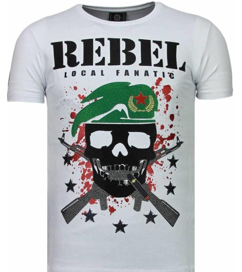 Local Fanatic Skull Rebel Rhinestone - Herr T Shirt - 5776W - Vit