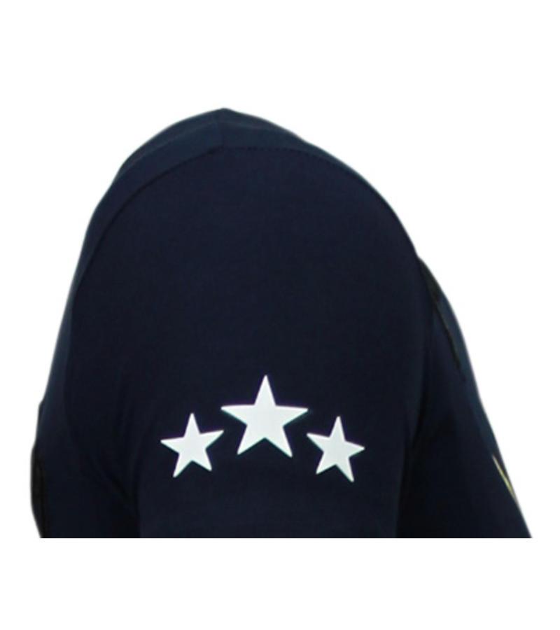 Local Fanatic Freedom Fighter Rhinestone - Man T Shirt - 5765B - Blå