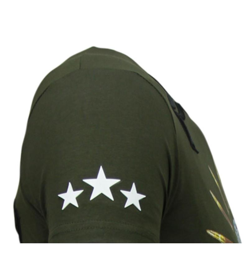 Local Fanatic Freedom Fighter Rhinestone - T Shirt Herr  - 5765G - Grön