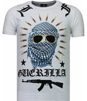 Local Fanatic Freedom Fighter Rhinestone - Herr T Shirt - 5765W - Vit