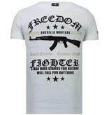 Local Fanatic Freedom Fighter Rhinestone - Herr T Shirt - 5765W - Vit