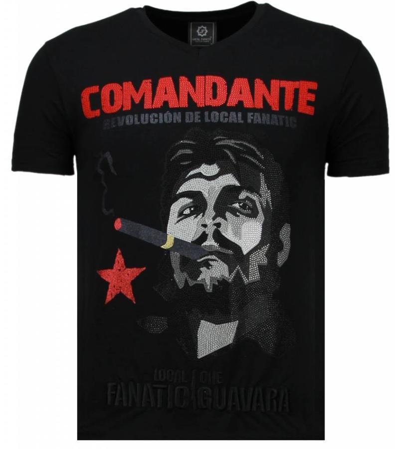 Local Fanatic Che Guevara Comandante Rhinestone - Man T Shirt - 5781Z - Svart
